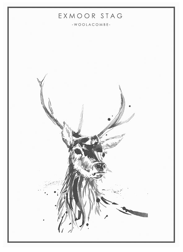Stag and Mackerel in Ink A2 poster prints