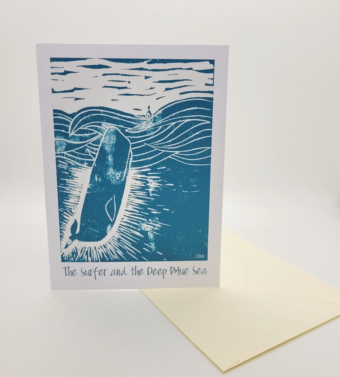Greetings card. Surfer and the deep blue sea.