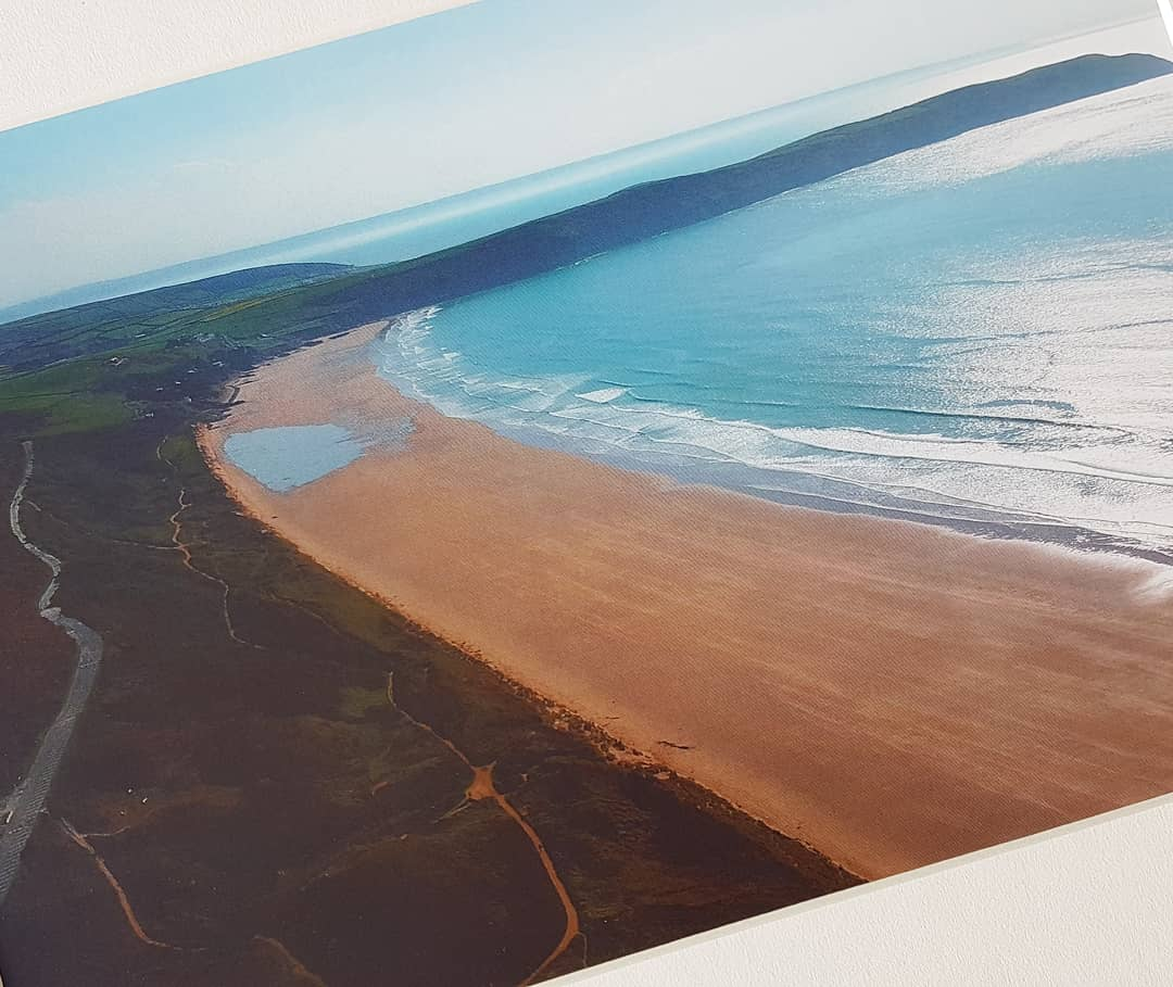 Aerial photographic print of Woolacombe beach to Putsborough