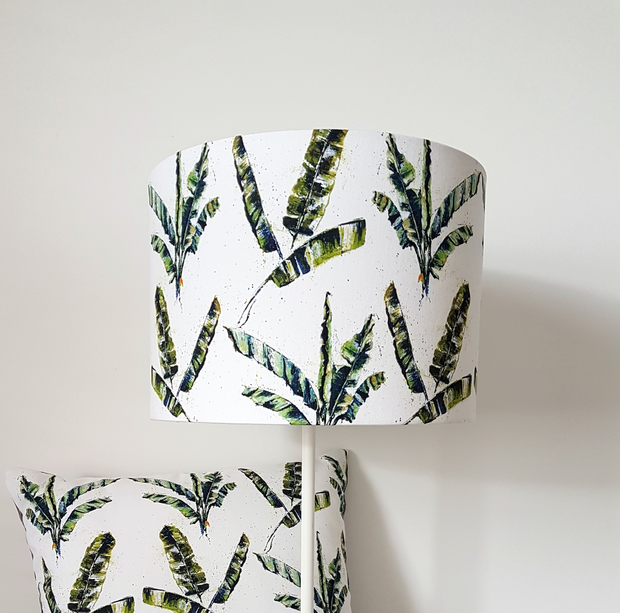 Lampshade. Banana palm design by Jo Allum