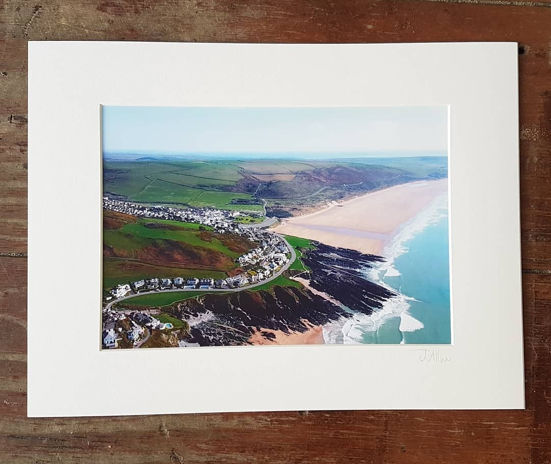 Aerial photographic print Coombesgate to main beach Woolacombe