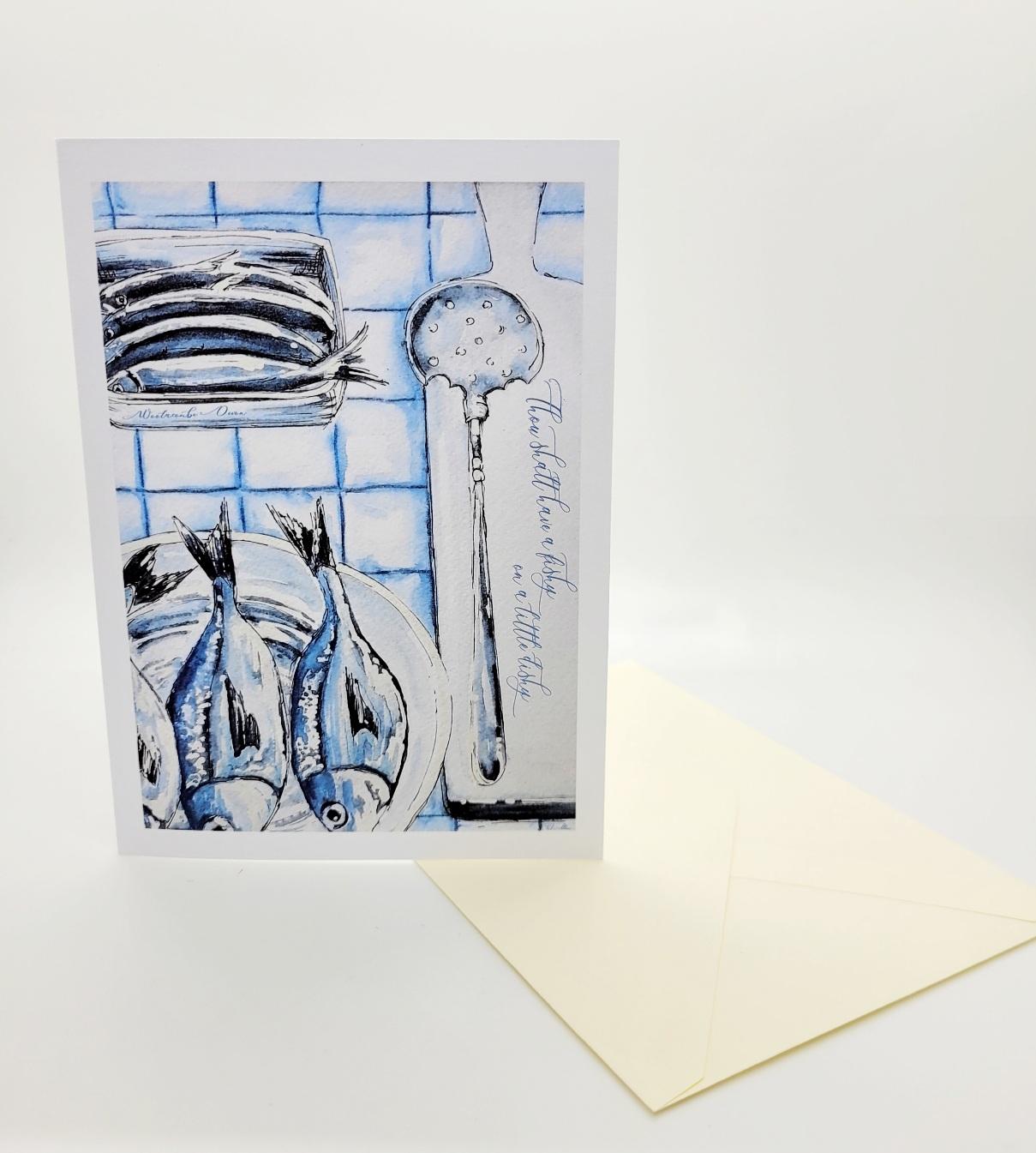 Greetings card. Fishy on a dishy