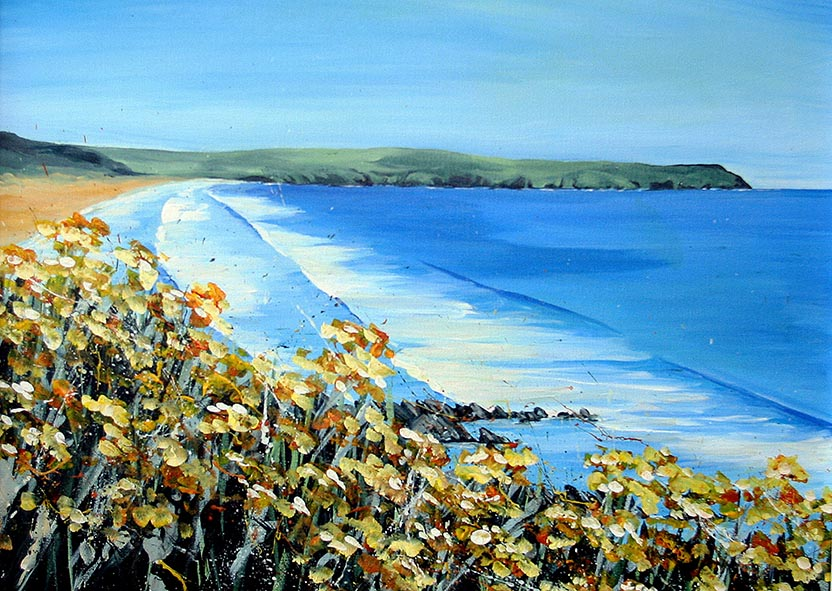 Yellow flowers art print Woolacombe, Devon