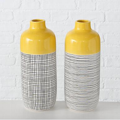 Boltze X Vase Gelb-Schwarz-Weiß