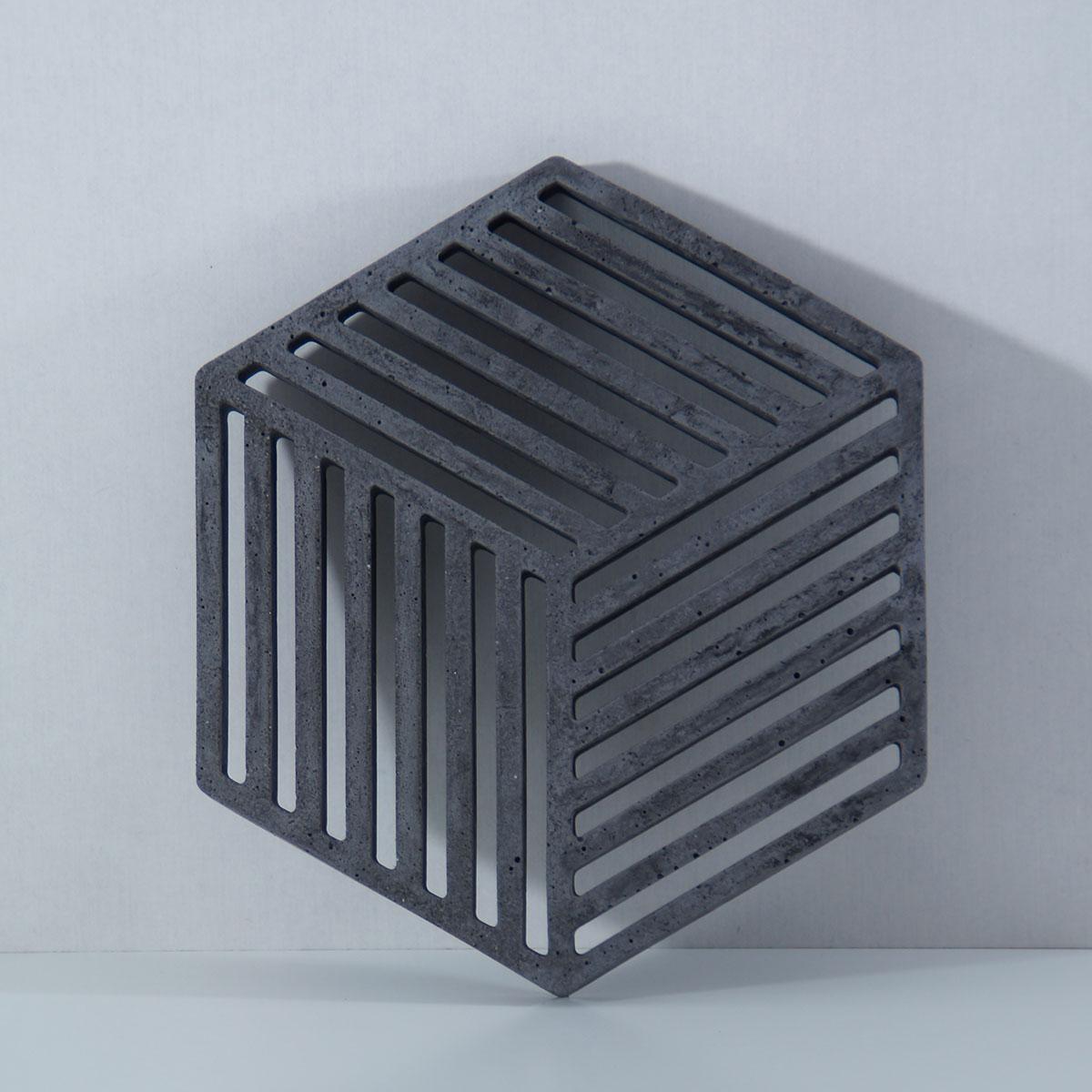 Møgn X Großer Hexagon Untersetzer Beton Liv