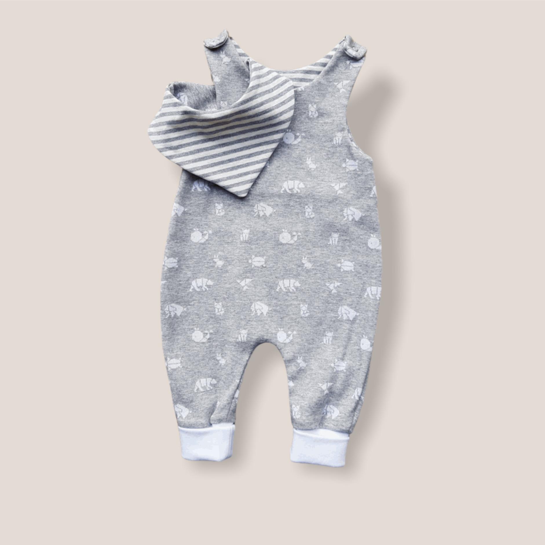 "Unikat X 14-Baby Jumper Set ""Origami"" Grau Gr. 56"