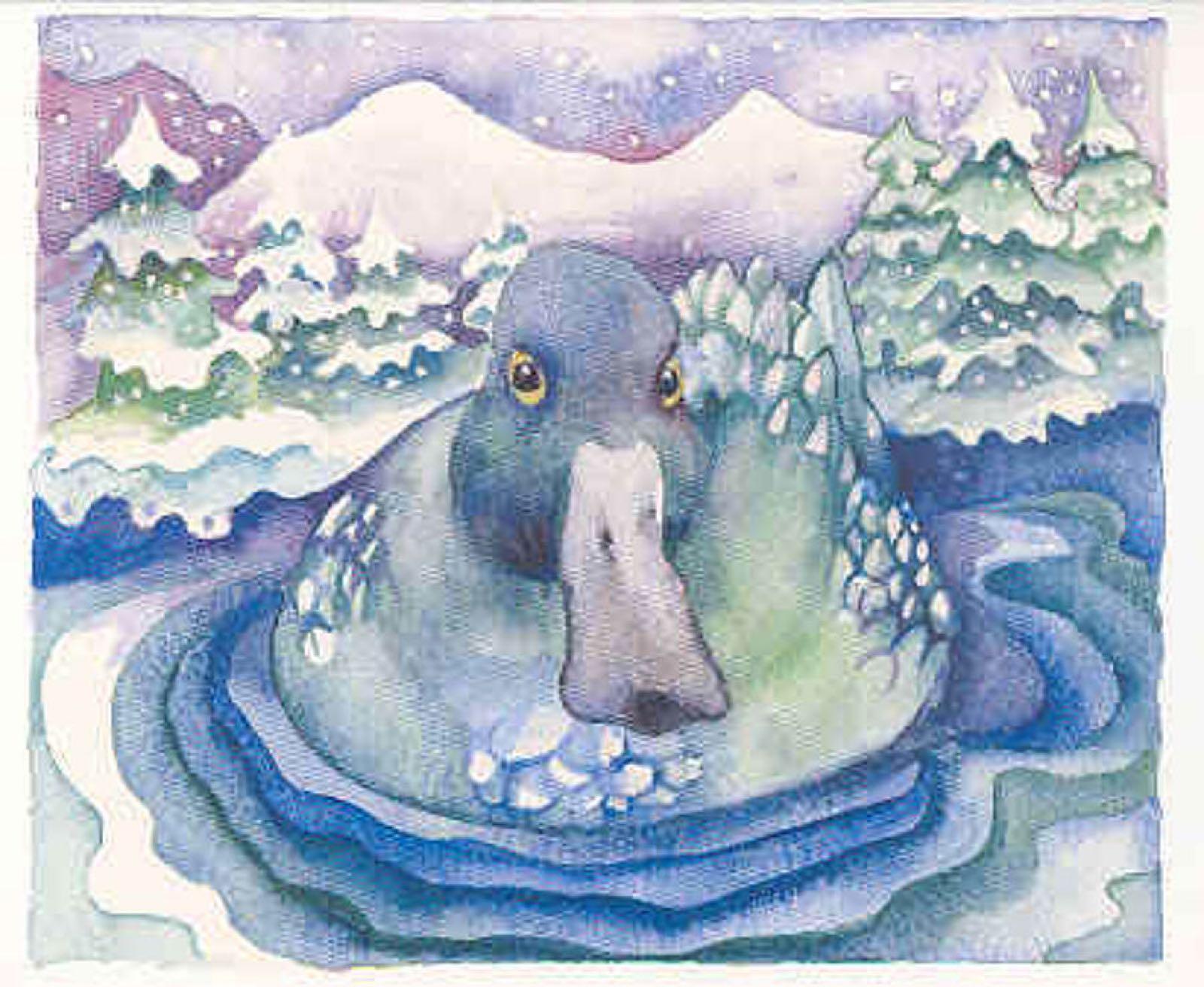 'Blue Duck, Blue Lake' Furzedown Gallery Mini Card