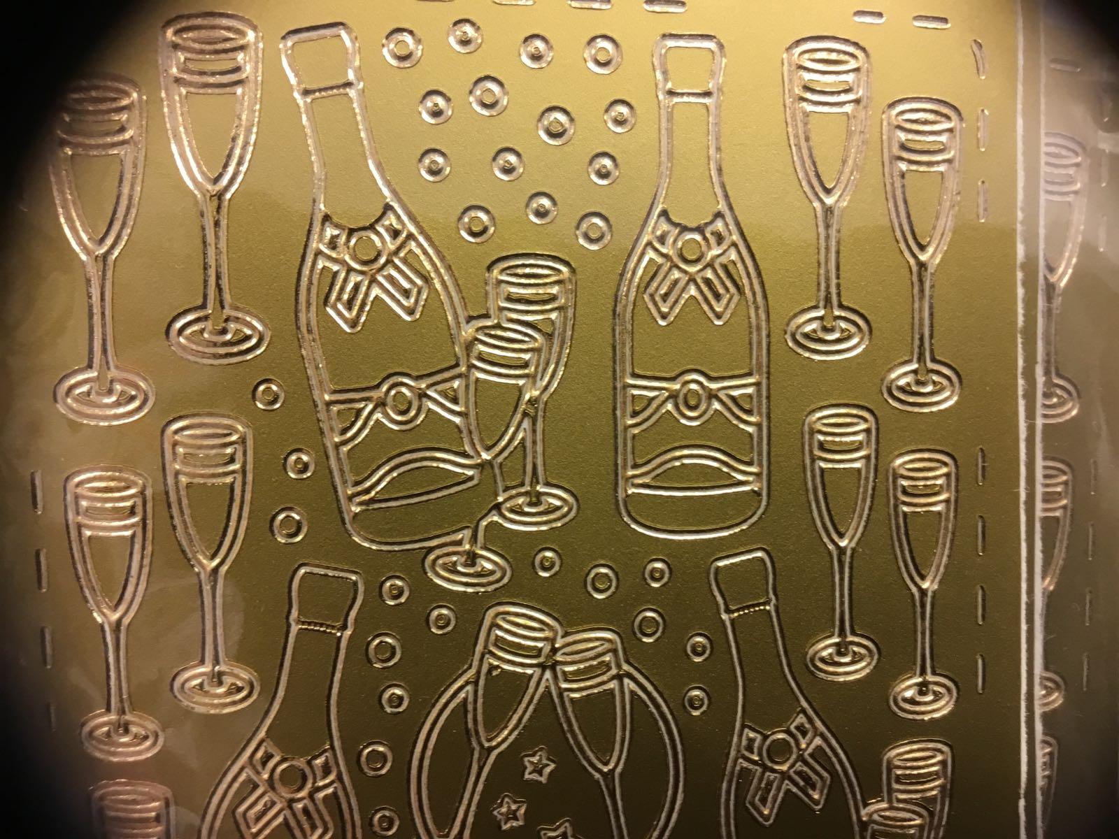 #klistremerker gull champagne flaske  glass sprudlende
