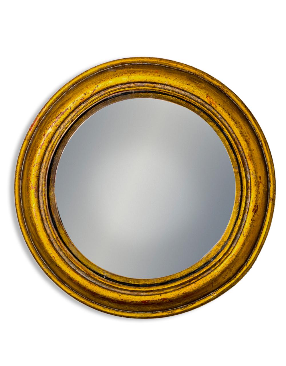 Gold Rounded Framed Medium Convex Mirror