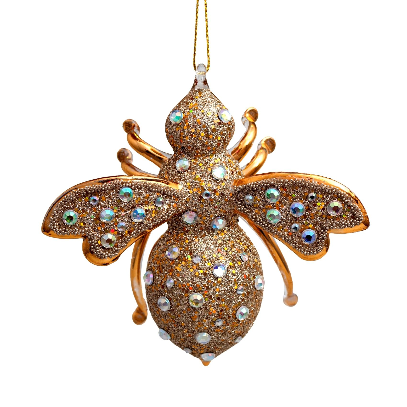 Gold Bee Glass With Diamonds