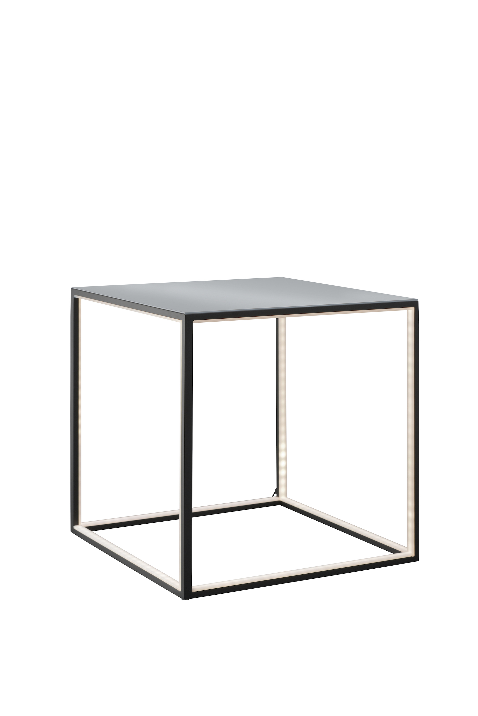 Square Lamp Table Black