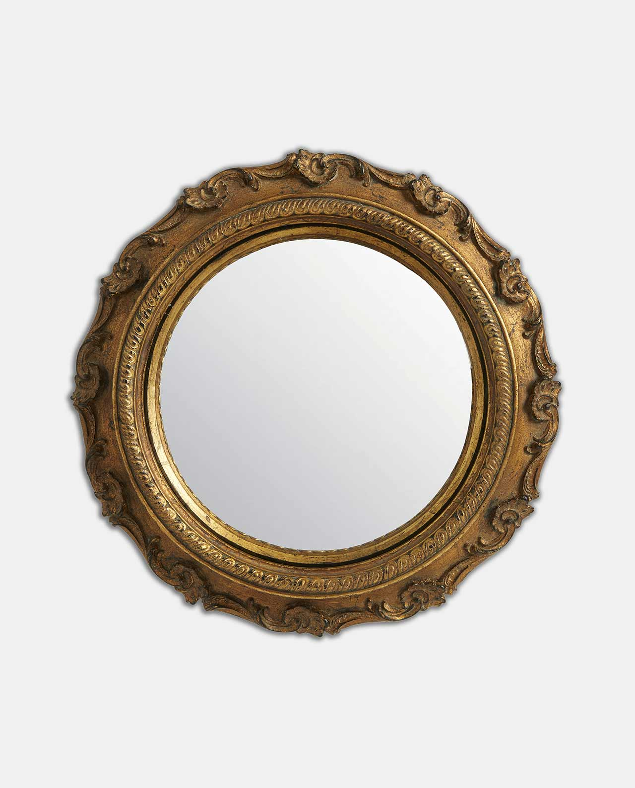Gold Decorative Round Convex Mirror 25cm