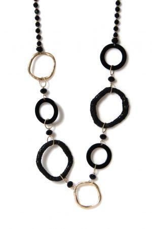 Black & Gold Hoop Necklace