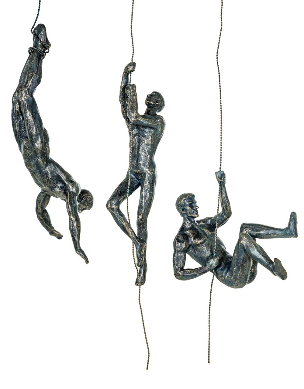 Set of 3 Antique Bronze Abseiling Men