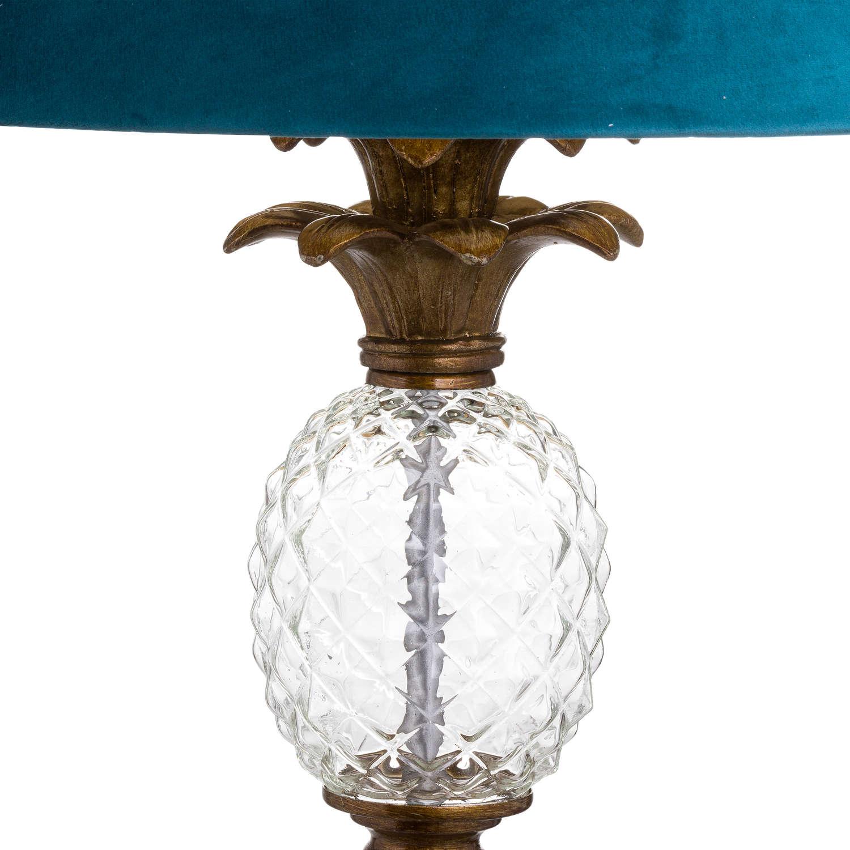 Ananas Glass Pineapple Floor Lamp With Teal Velvet Shade