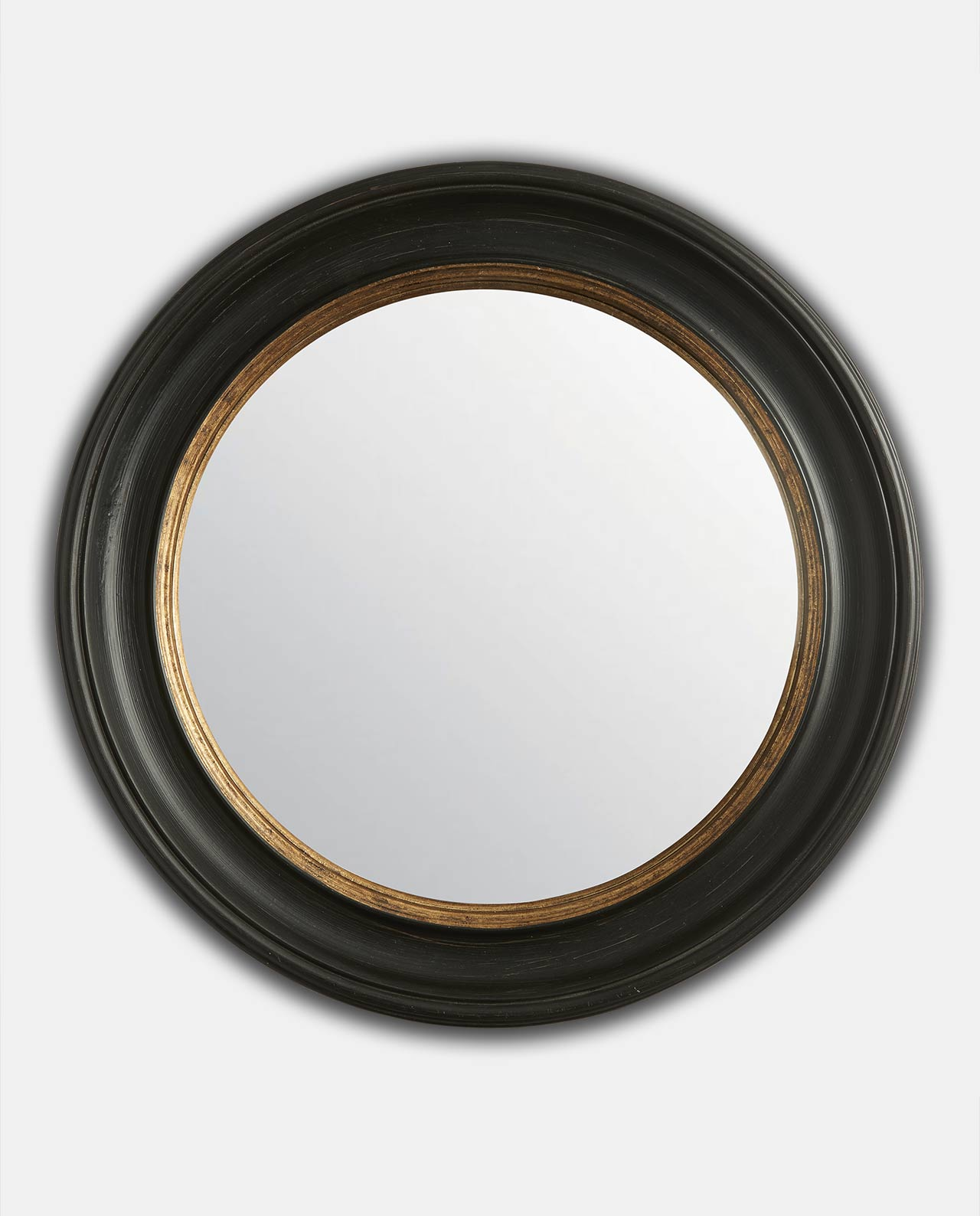 Black & Gold Round Convex Mirror 64cm