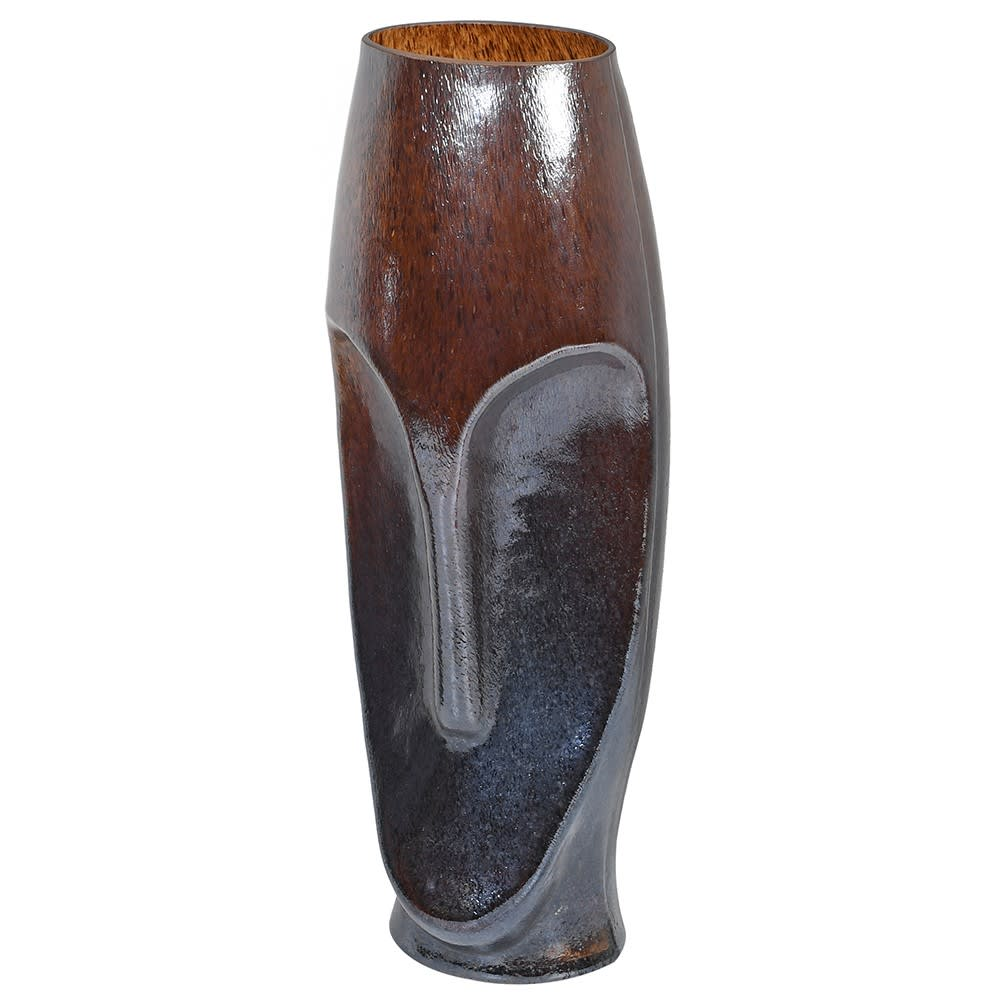 Amber Glass Face Vase Large