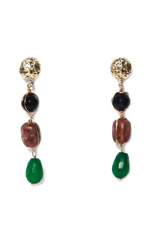 Gold and Semi Precious Drop Earrings