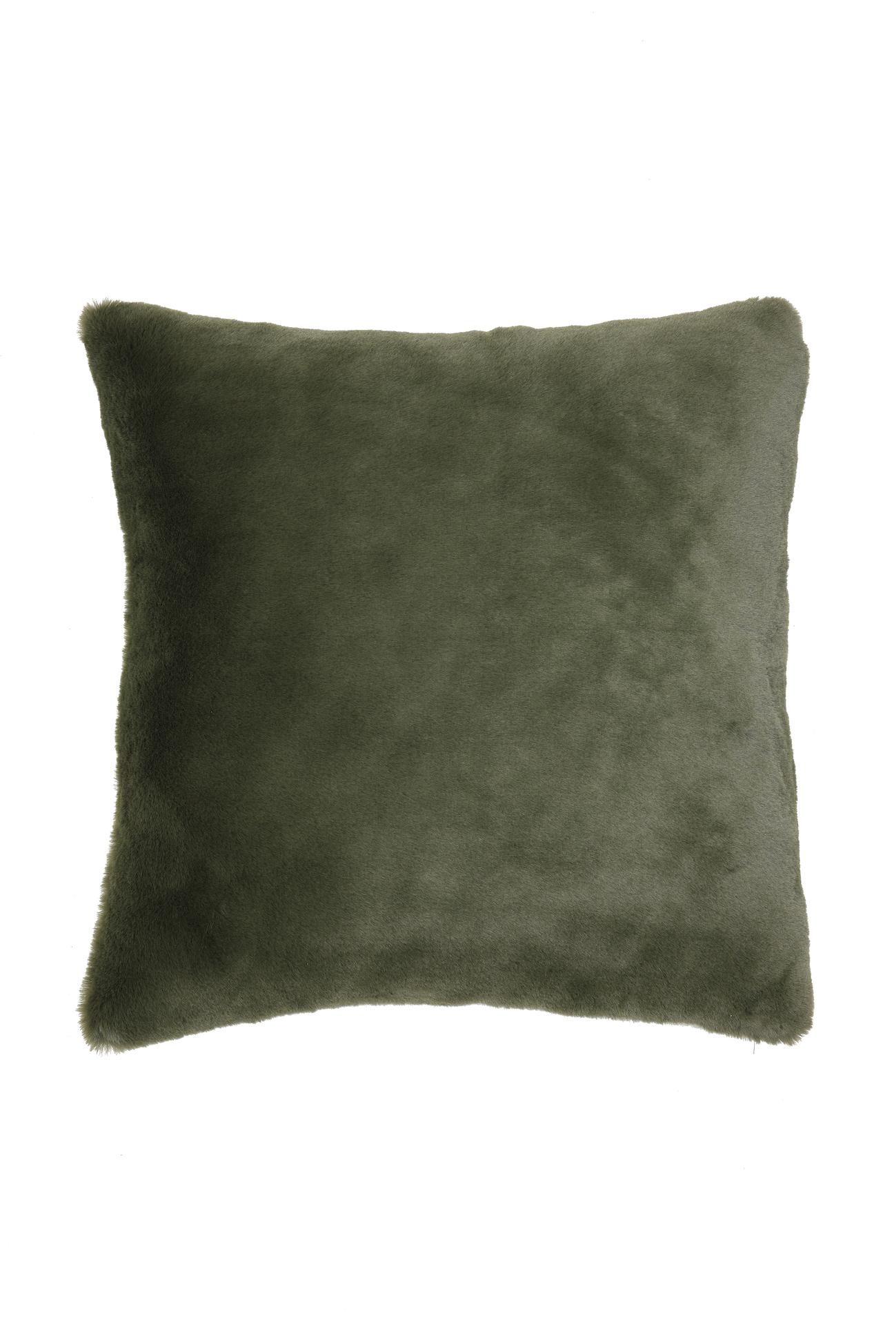 Faux Fur Olive Green Cushion