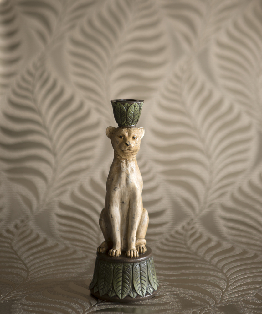 Antique Style Leopard Candle Holder