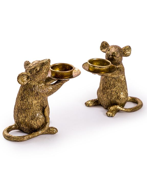 Gold Mouse T-Light Holder