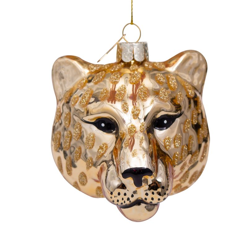 Glass Gold Panther Head bauble