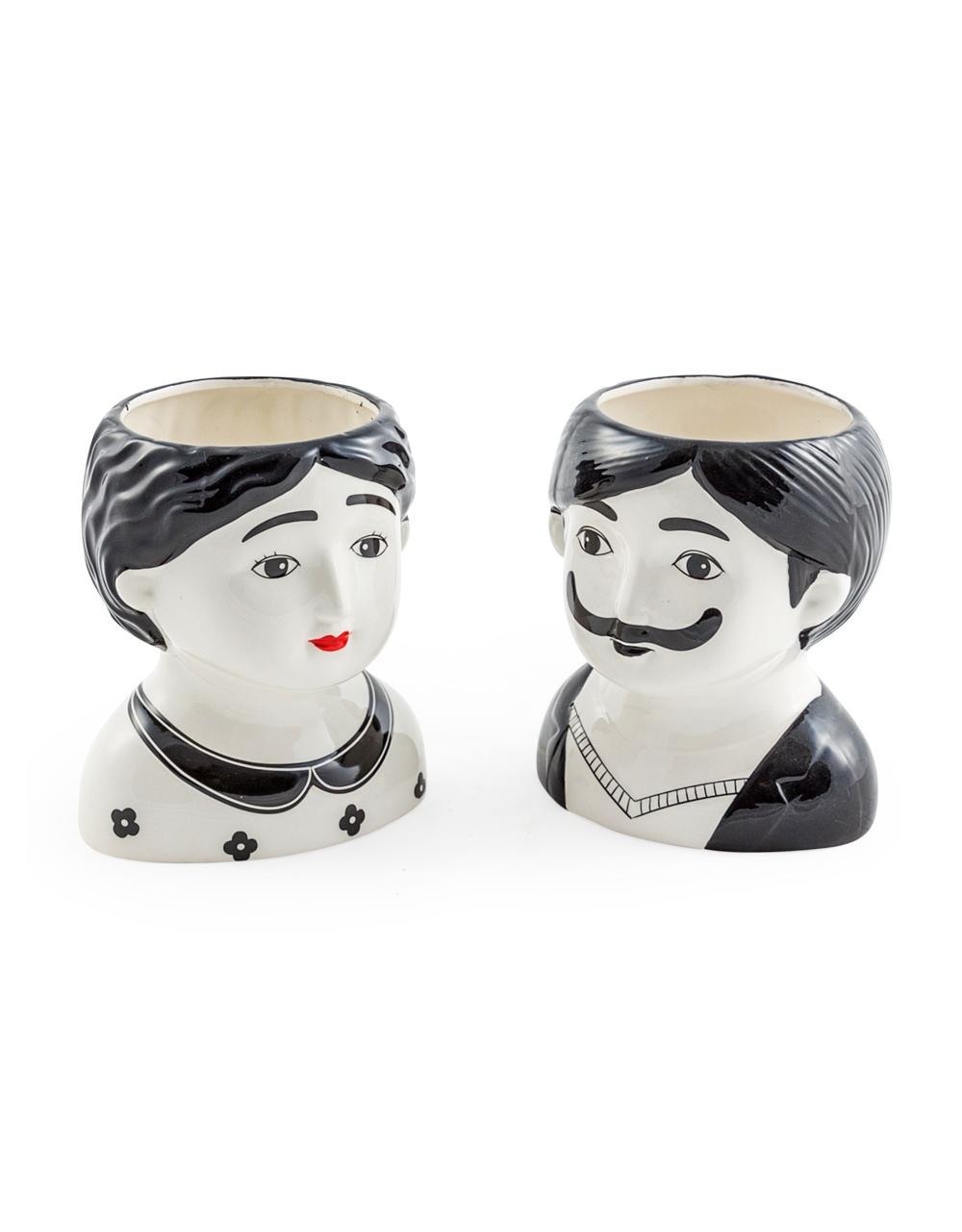 Large Man & Woman Pots Set of 2