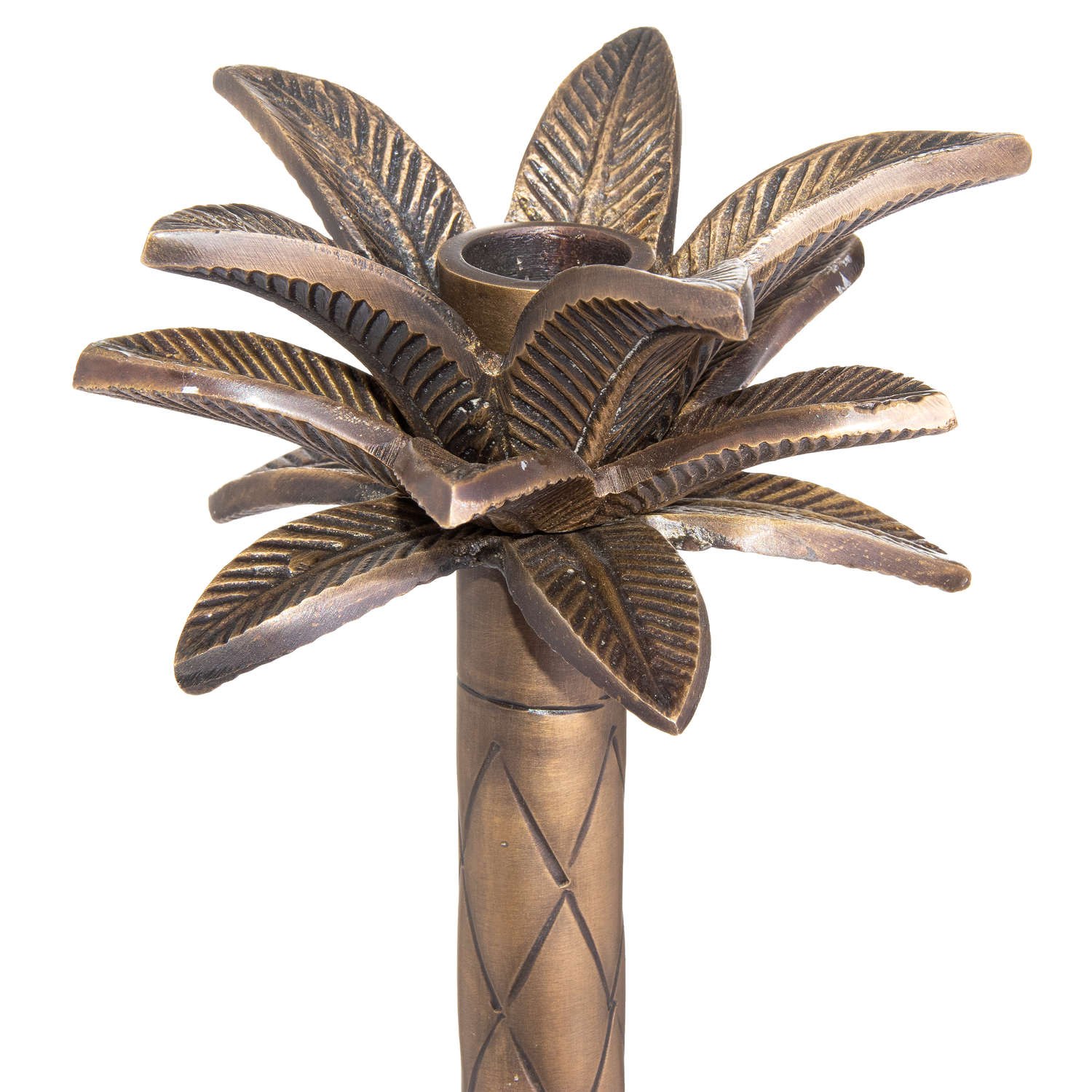 Large Palm Tree Candle Holder Brass Finish