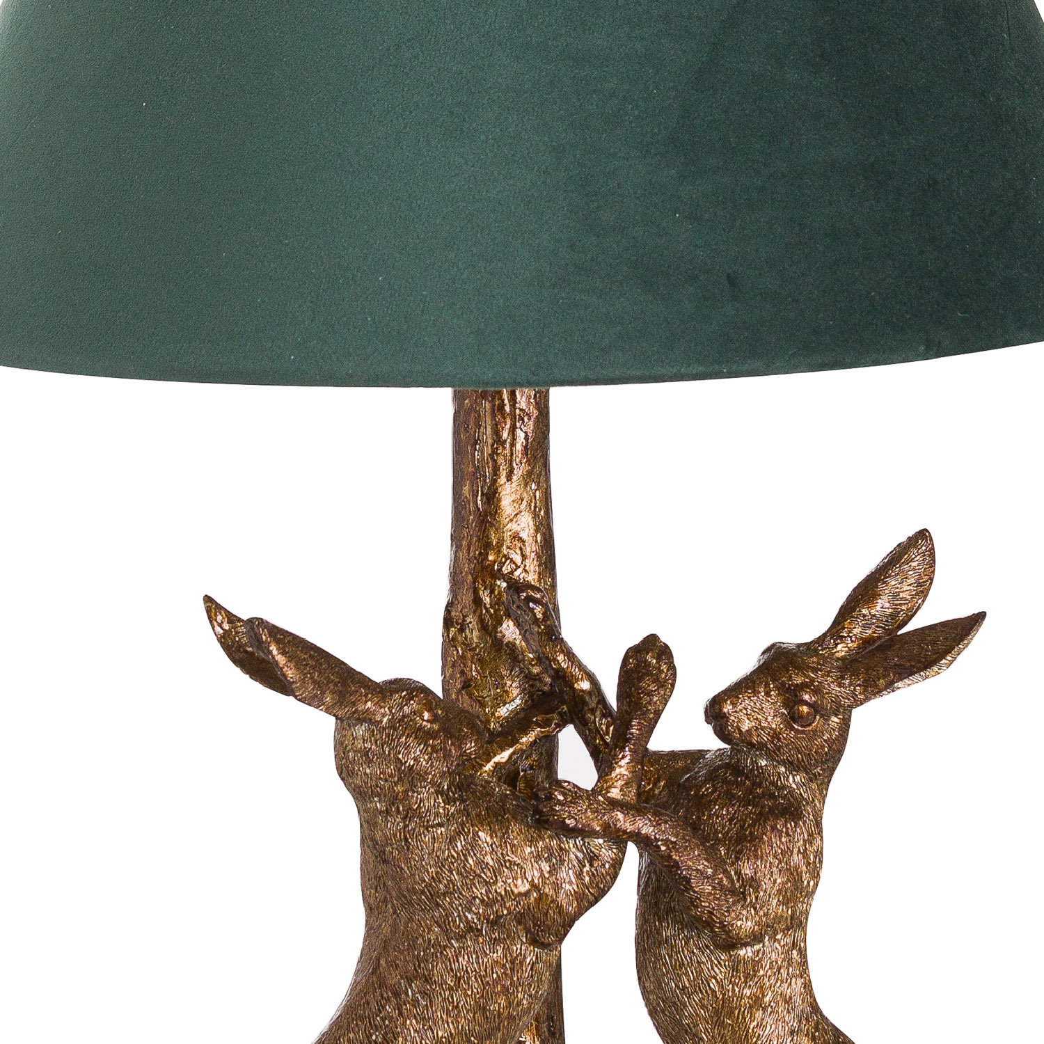 Antique Gold March Hares + Green Velvet Shade with Gold Lining