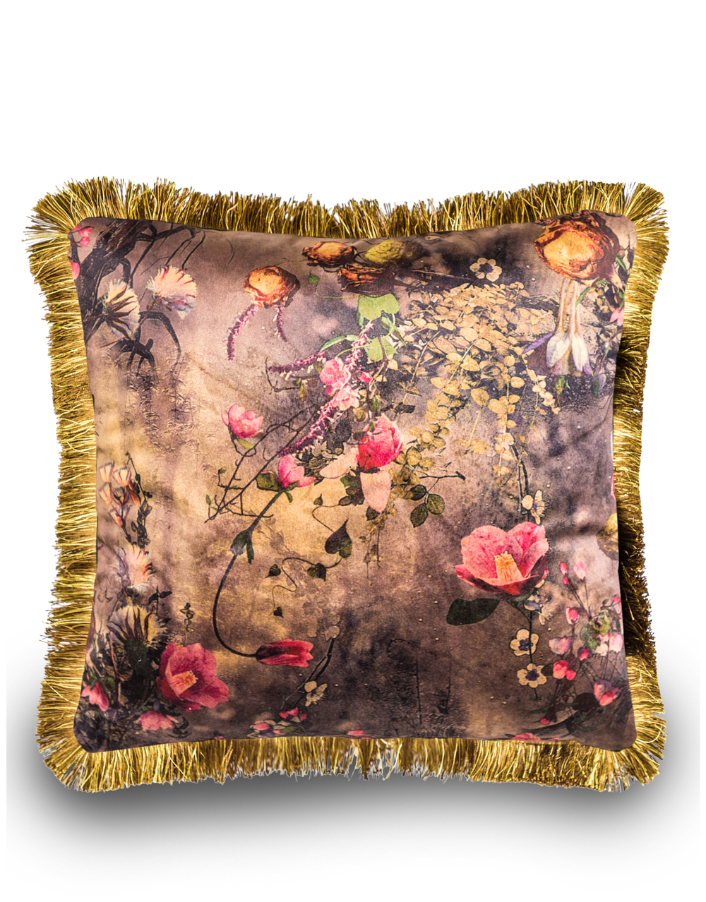 Boho Floral Velvet Rose Cushion with Gold Fringe Detail