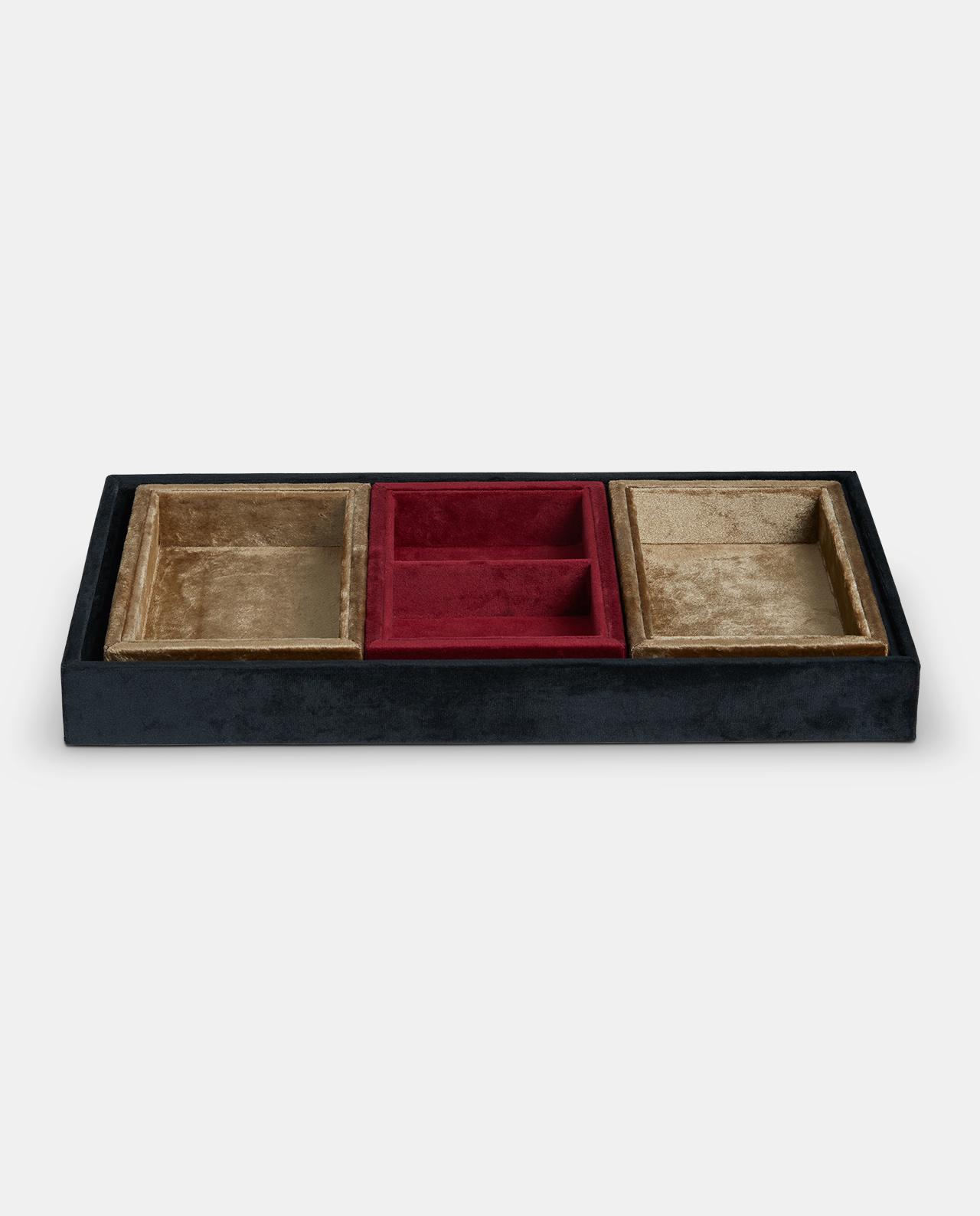 Black Gold & Red Velvet Storage Trays