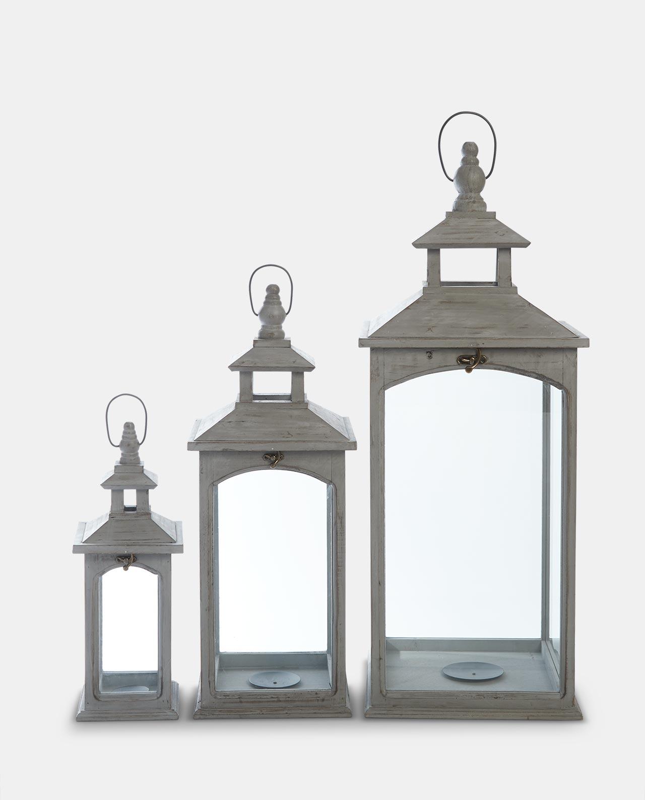 Set of 3 Slate Grey Wooden Lanterns