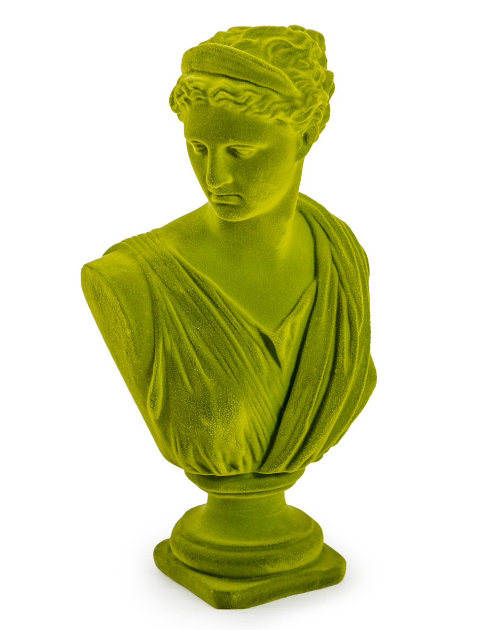 Large Flocked Artemis Bust Olive