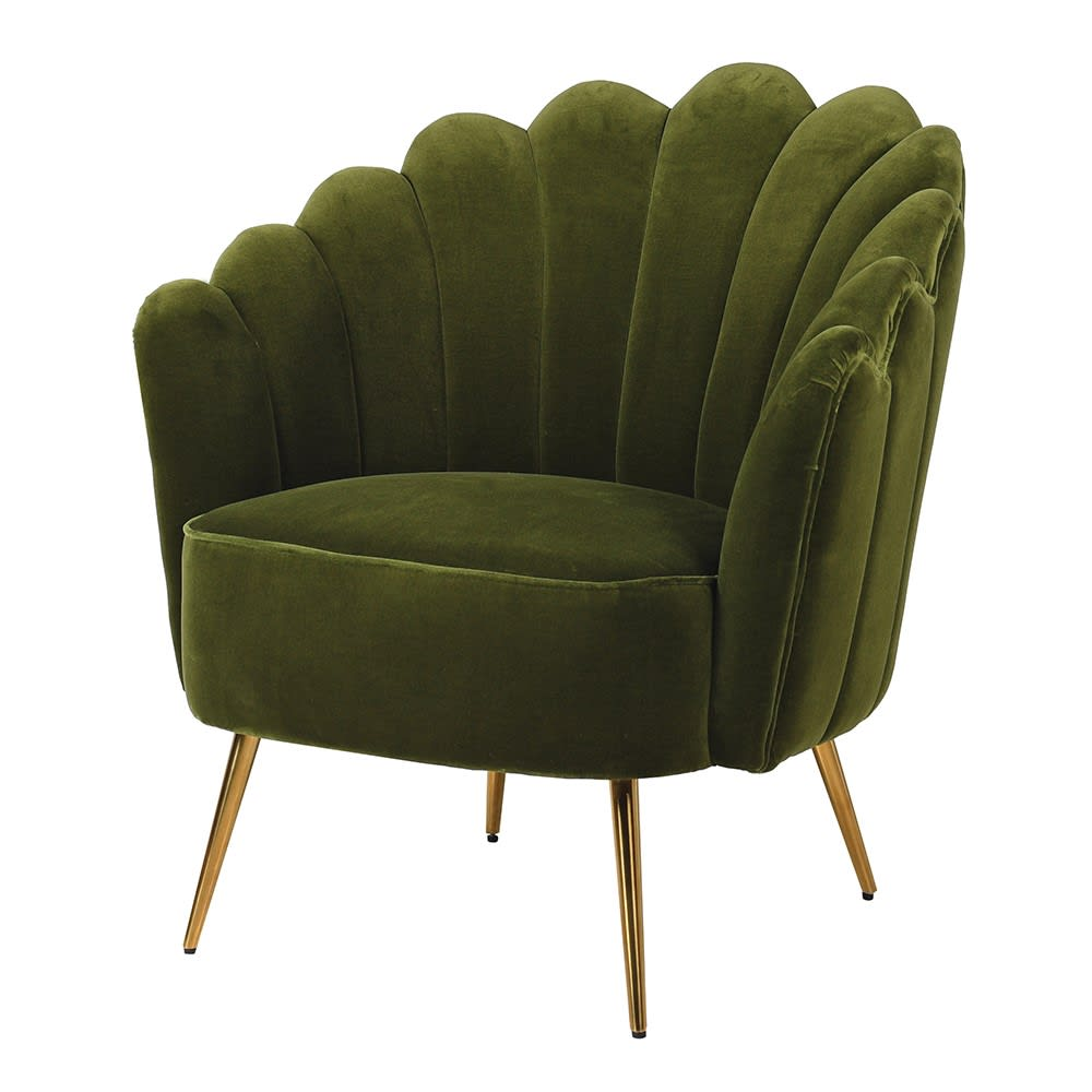 Olive Velvet Shell Chair