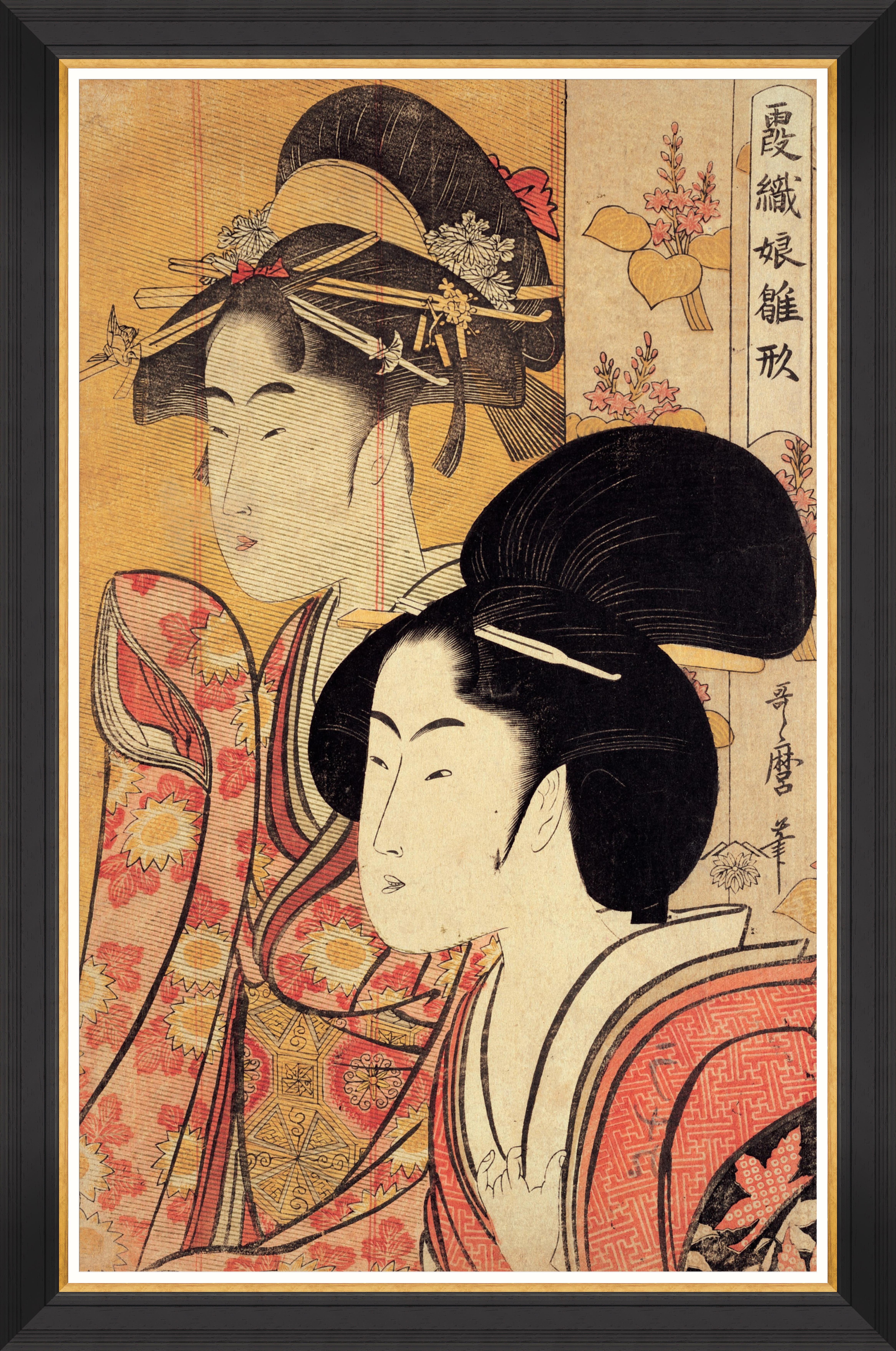 TWO BEAUTIES BY KITAGAWA UTAMARO Framed Print