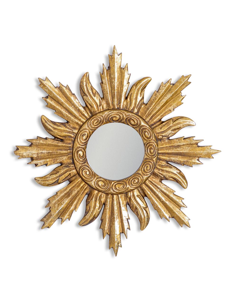Antique Gold Star/Sun Convex Mirror