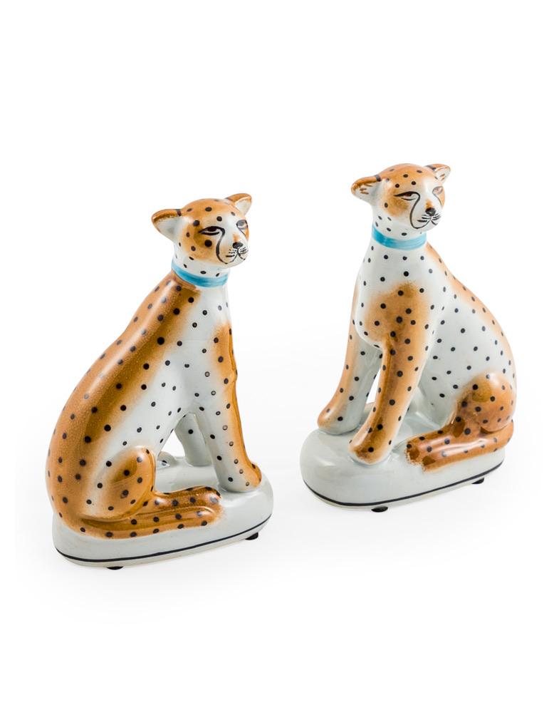 Set of 2 Ceramic Sitting Leopards