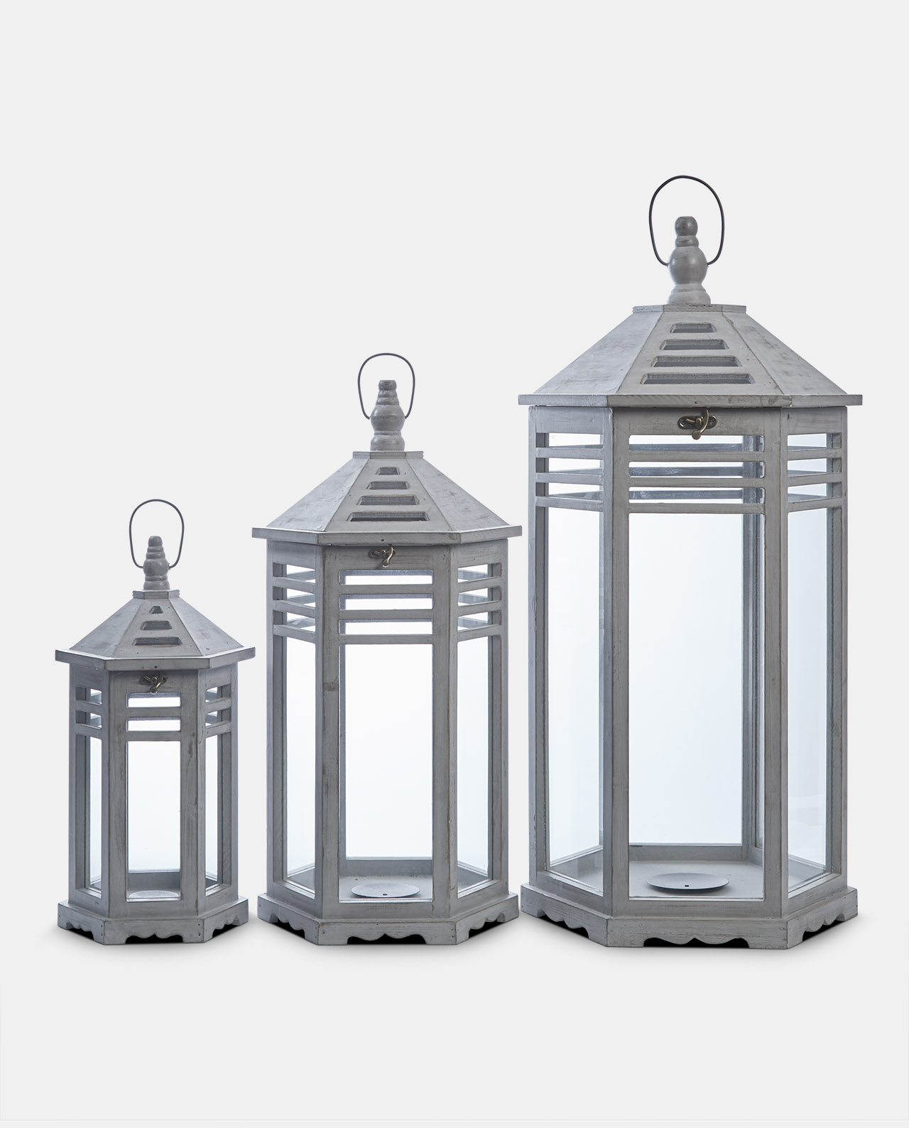 Set of 3 Slate Grey Lanterns