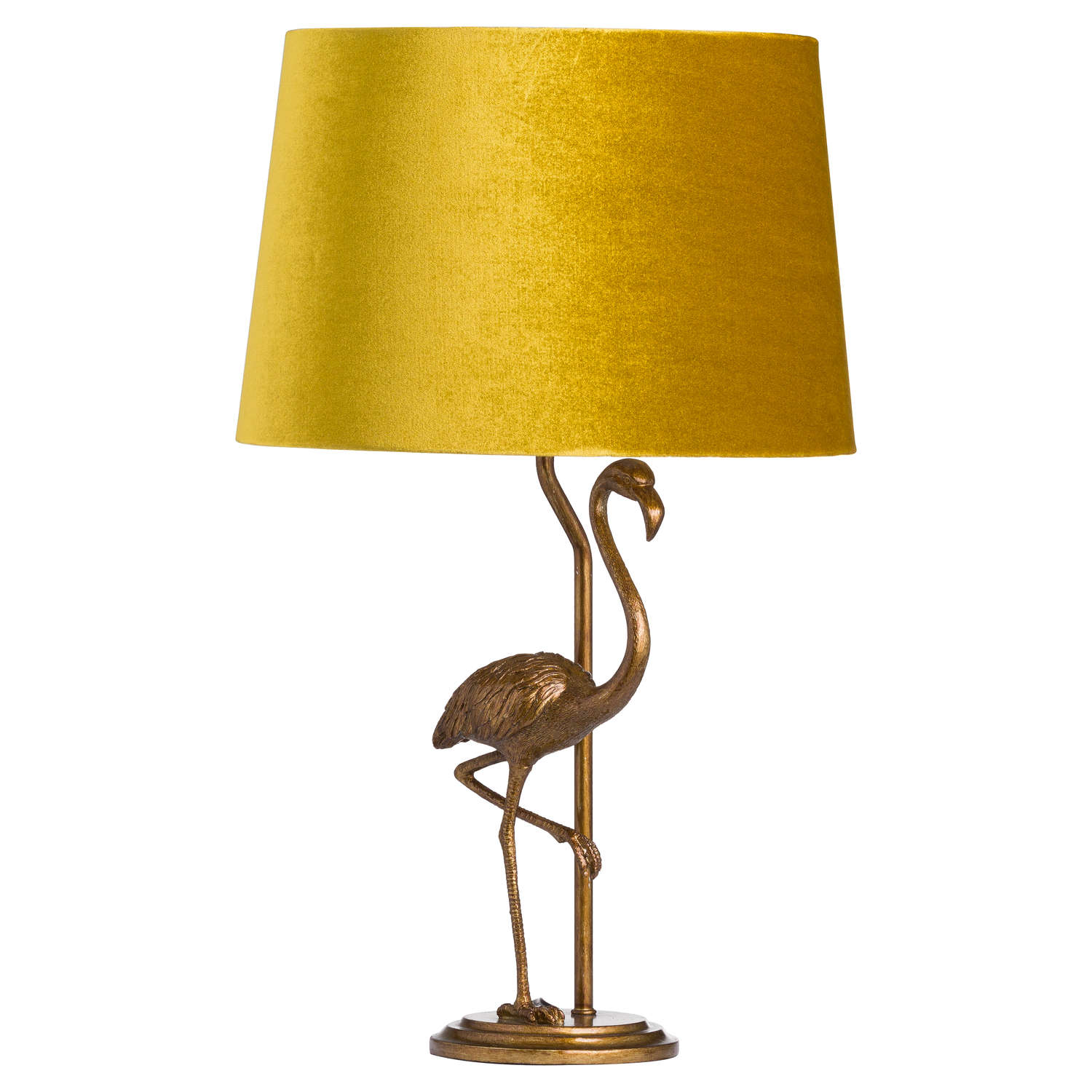 Antique Gold Flamingo Table Lamp + Mustard Velvet Shade with Gold Lining