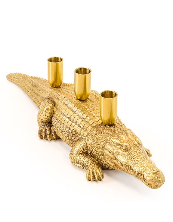 Antique Gold Crocodile Candle Holder