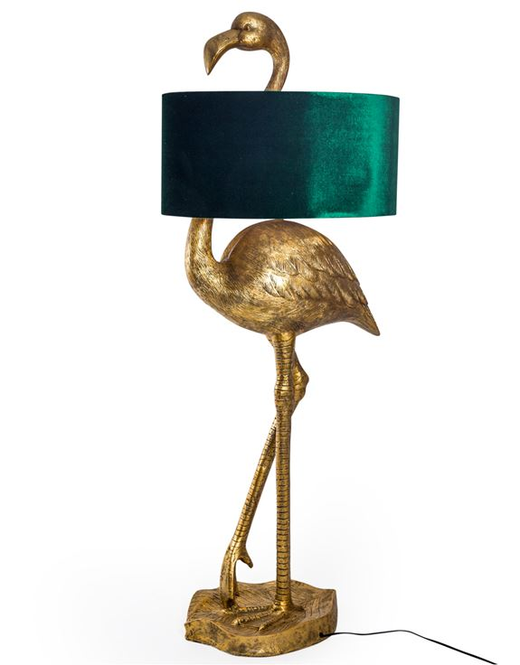 Gold Flamingo Floor Lamp with Gold Lined Green Velvet Shade