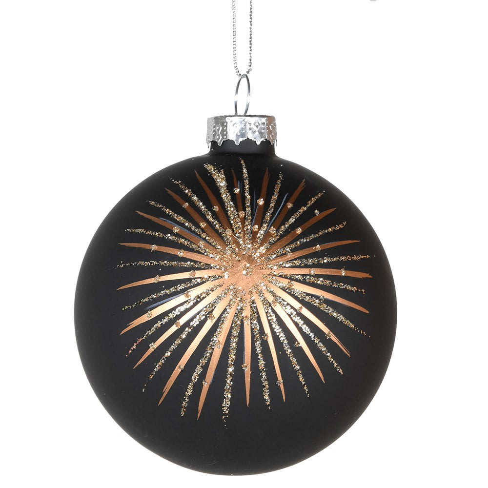Glass Black bauble with Gold Starburst