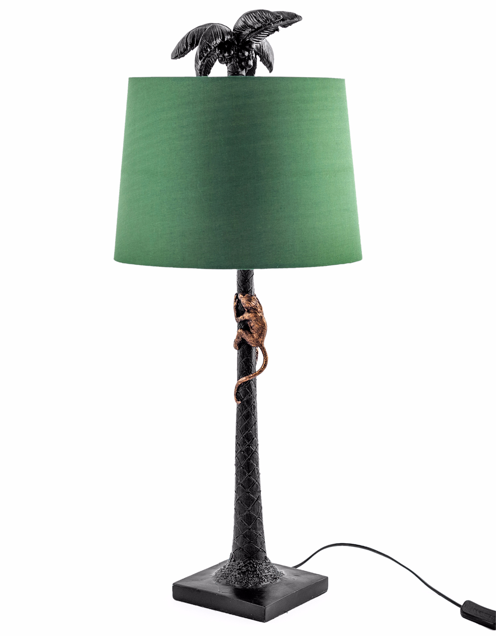 Black Palm Tree Lamp with Green Shade