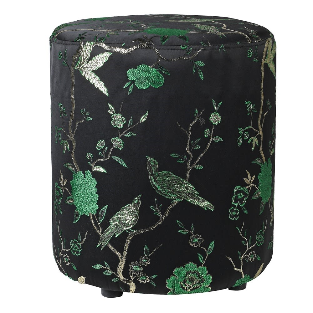 Oriental Jacquard Green Stool