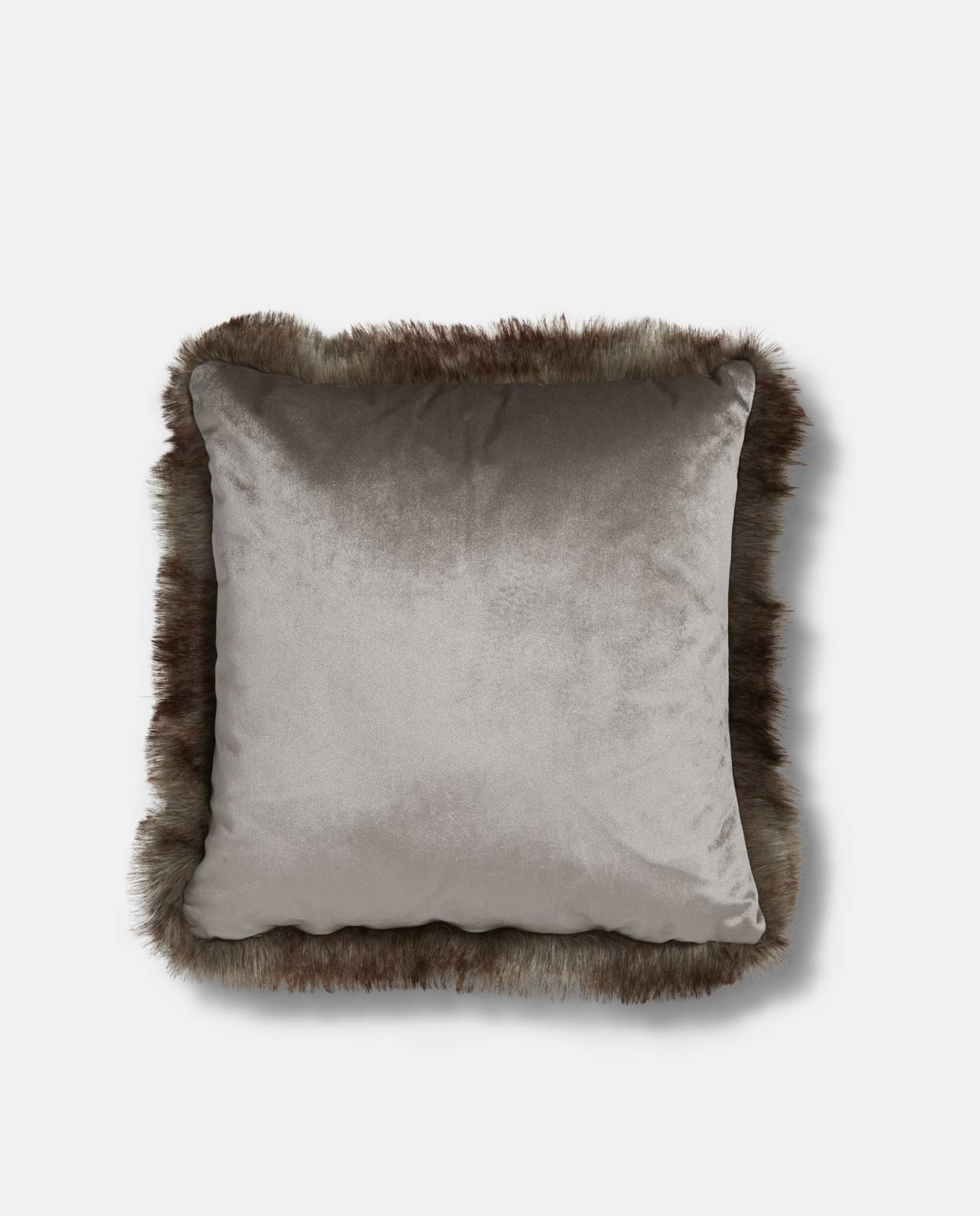 Silver Velvet Faux Fur Cushion