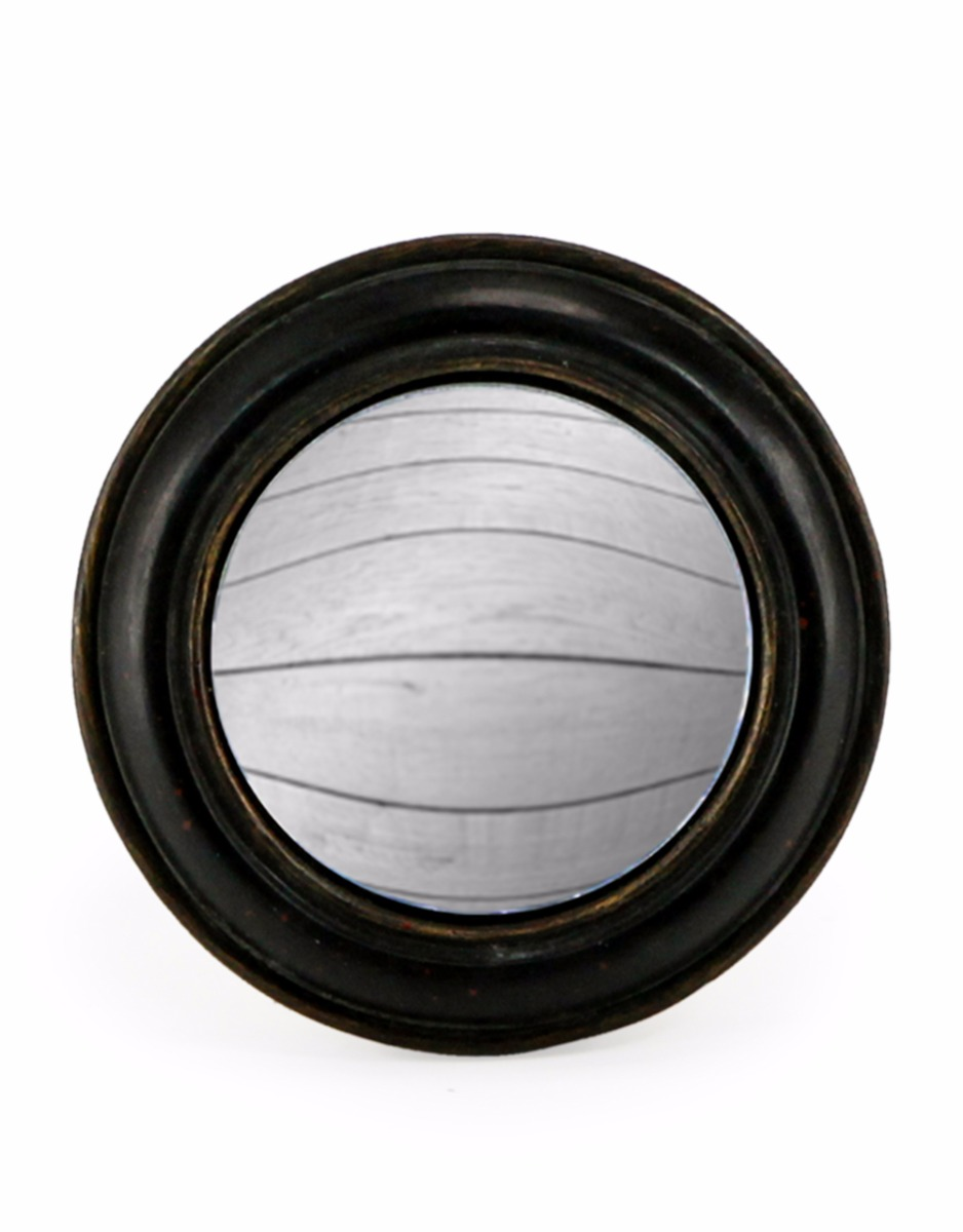 Black Rounded Convex Mirror Small