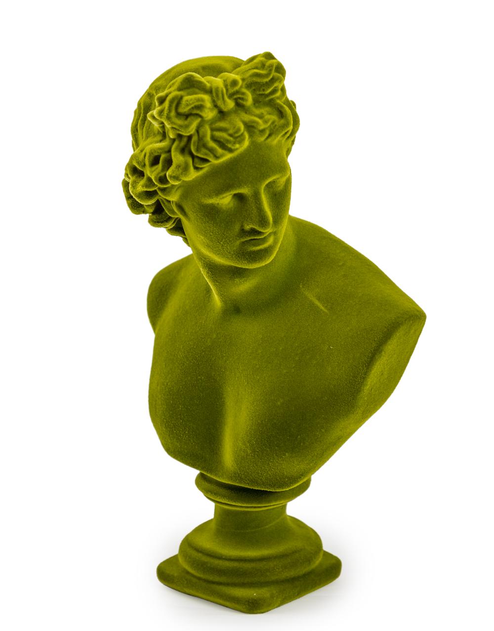 Large Flocked Apollo Bust Olive