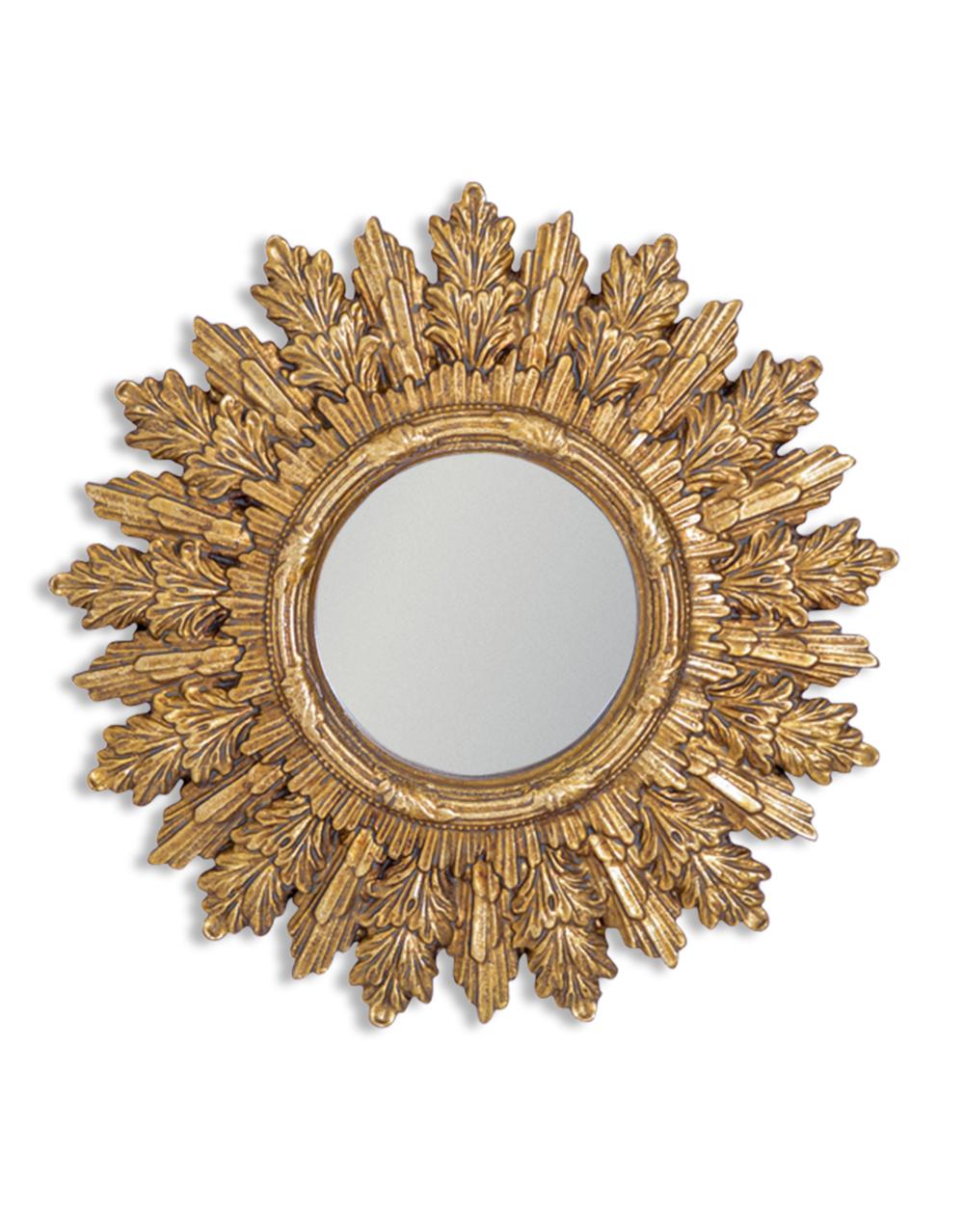 Antique Gold Mixed leaf Convex Mirror