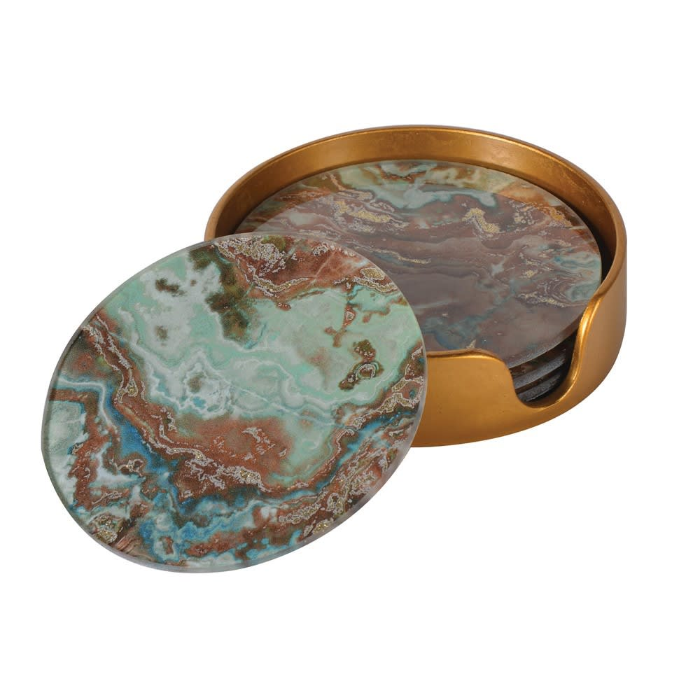 Set 4 Green Marble Coasters