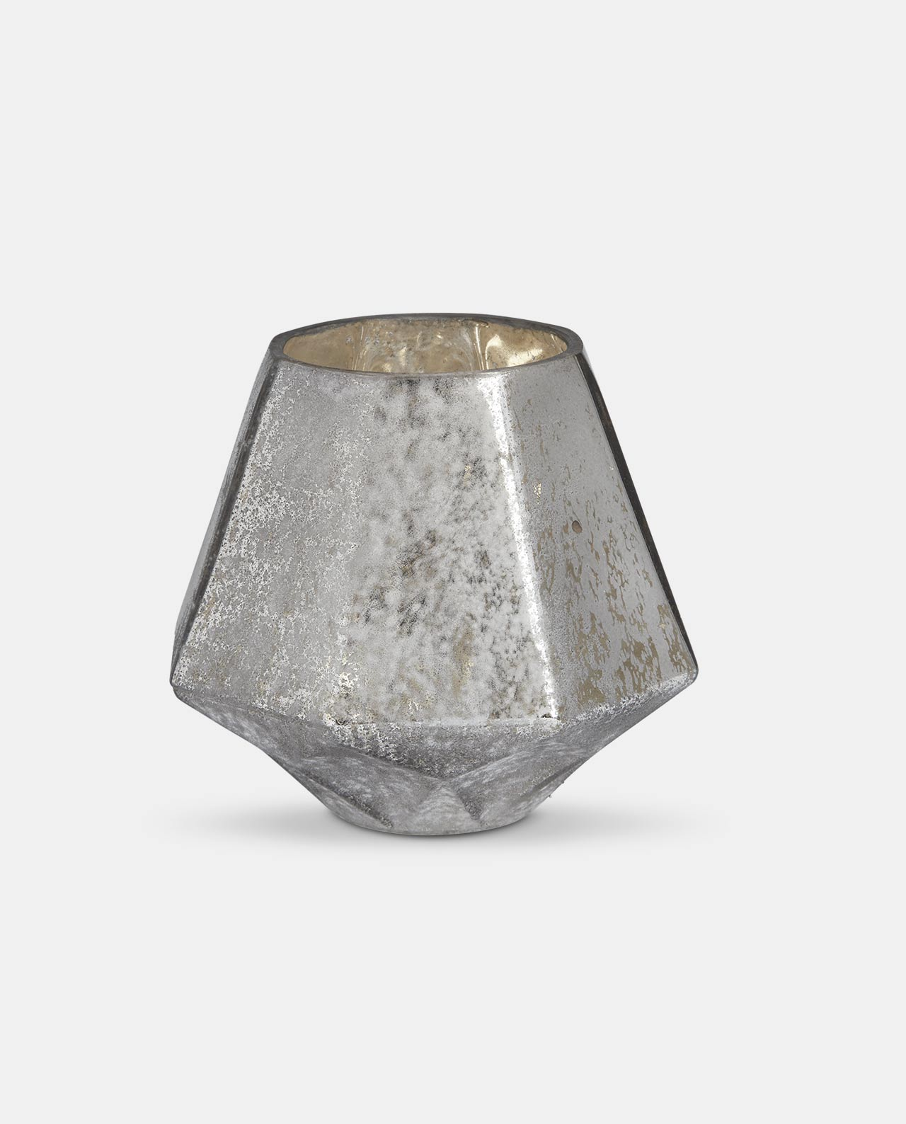 Silver Glass Candle Holder Medium